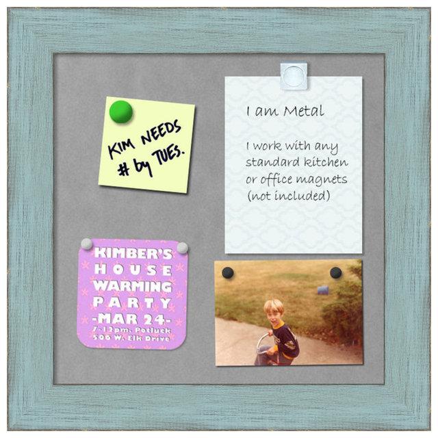 Framed Magnetic Board, Sky Blue Rustic - Farmhouse - Bulletin Boards ...