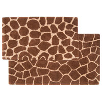 Giraffe Bath Rug 2-Piece Set, Chocolate and Beige