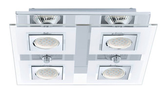 4x35W Square Ceiling  Light, Chrome Finish &  Satin & Clear Glass