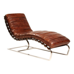 Chaise Handed Vintage Leather Contemporary Indoor