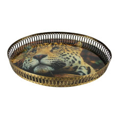 Signature Home Collection - Oval Leopard Print Serving Tray With Glittering Border - Serving Trays
