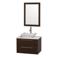 "Amare 30"" Bathroom Vanity Espresso, White Stone Top & White Marble Sink"