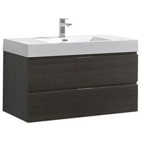 "Fresca Senza Valencia 40"" Wall Hung Modern Bathroom Vanity, Gray Oak"
