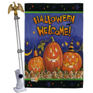 Halloween Welcome Vertical Garden Double Sided Flag Contemporary Flags And Flagpoles By Breeze Decor