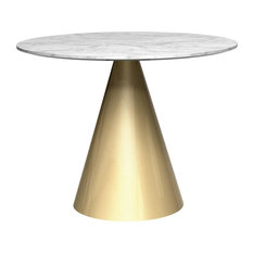 Oscar Small Round White Marble Dining Table, Brass Base