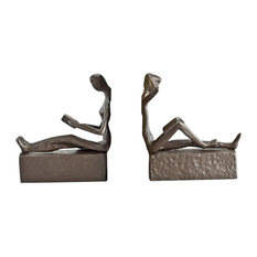 Danya B - 2-Piece Man and Woman Reading Metal Bookend Set - Bookends