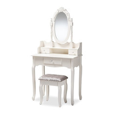 Traditional White Finished Wood 2-Piece Vanity Table With Mirror and Ottoman