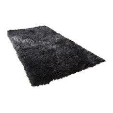 Sienna Large Plain Soft Shaggy Floor Rug 5 cm Thick Pile, Charcoal, 160x230 cm