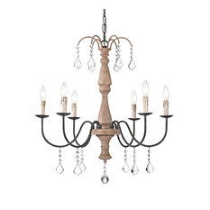 6-Light White Rustic Farmhouse Vintage Wooden Chandelier with Crystals
