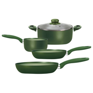 Saucepans and Frying Pans, Set of 5, Total Green