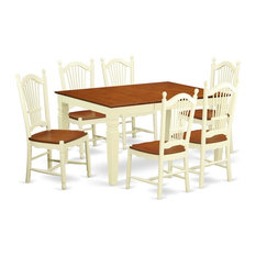 7-Piece Kitchen Table Set A Dinning Table And 4 Wood Chairs Buttermilk Cherry