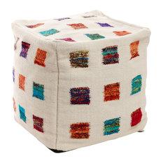 Multicolor Square Wool Pouf