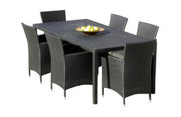 Outdoor Patio Wicker All Weather Resin 7-Piece Dining Table and Chair Set