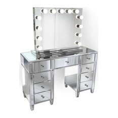 """48"""" Mirrored Vanity Table MultiDrawer With LED  Dimmable Hollywood Mirror and Ch"""