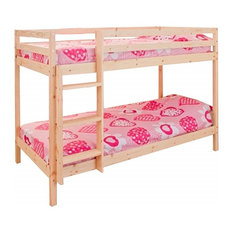 Single Bunk Bed in Natural Pine Wood with Ladder, Simple Traditional Design