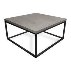 Cube Concrete Coffee Table, White Linen, 42x42