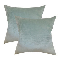 Haye Solid Throw Pillows, Aqua, Set of 2