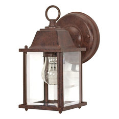 "Nuvo 1-Light 9"" Wall Lantern Cube Lantern with Clear Beveled Glass"