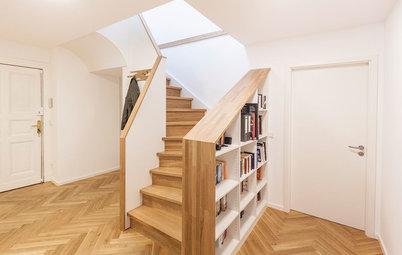 Stauraum maximal: Ein voluminöser Einbauschrank unter der Treppe