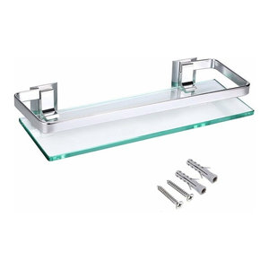 Wall Mounted Shelf With Aluminium and Tempered Glass Top, Rectangular Shaped