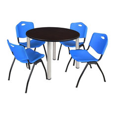 """Kee 48"""" Round Breakroom Table, Mocha Walnut/Chrome and 4 """"M"""" Stack Chairs, Blue"""