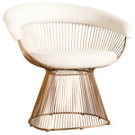 Statements by J - Mumu Platner Accent Chair, Beige and Rose Gold - Add an element of art deco glam to your home with the Mumu Platner Accent Chair. The playful combination of color and texture create a look that is instantly modern and elegant. The linen cushion and gold chrome lines revamp traditional conventions and push the boundary of design.