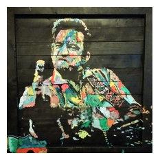 """""""Color Cash"""" Johnny Cash Wood Wall Art, 40""""x40"""""""