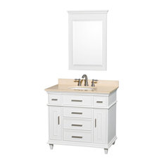 "Wyndham Collection 36"" Berkeley White Single Vanity With Ivory Marble Top"