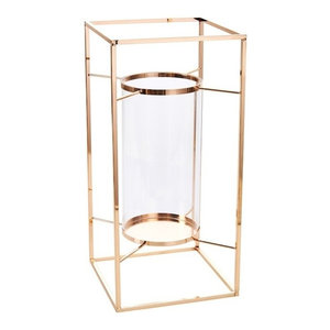 Rose Gold & Glass Lantern Candle holder Tealight