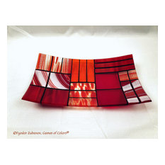 """Decorative Fused Glass Plate """"A Gentle Color Mix"""", Red"""