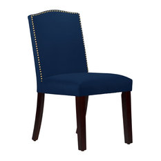 Nail Button Arched Dining Chair, Velvet Navy