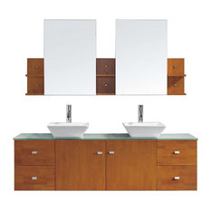 "Clarissa 72"" Double Bathroom Vanity Cabinet Set, Honey Oak"