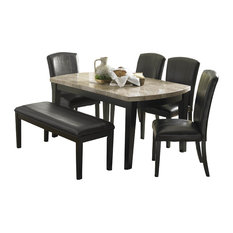 Homelegance Cristo Marble Top Dining Table, Black