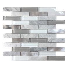 "White Carrara Stone Metal Gray Mosaic Tile Backsplash, 12""x13.75"""