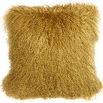 "Pillow Decor Ltd. - Pillow Decor, Mongolian Sheepskin Throw Pillow, Soft Gold, 18""x18"" - This Soft Gold Mongolian pillow is a genuine sheepskin pillow and is backed by an ultra soft faux suede in a matching tone. The color is a soft, dusty gold and a very close match to Millington Gold (HC-13) from Benjamin Moore's Color Preview Palette."