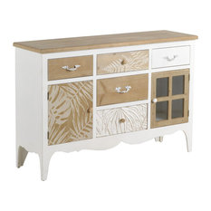 White and Natural Spruce Wood 2-Door Sideboard, 5 Drawers