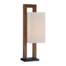 One Light Portable Table Lamp with Linen Fabr Walnut Tan Linen Fabric Shade