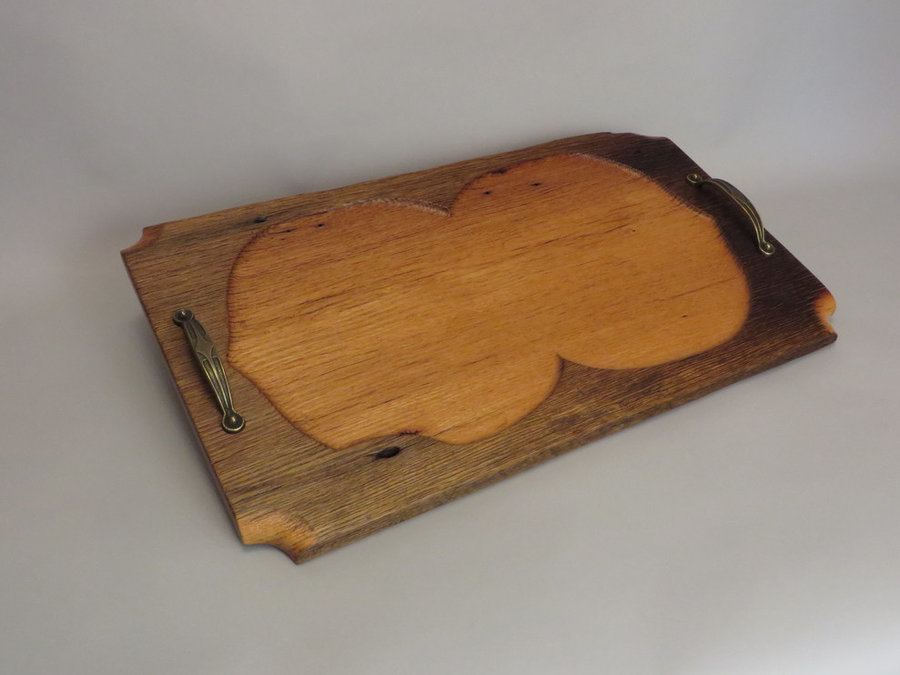 Tray 17019: Chestnut Oak, Carved Pan, Pull Handles.