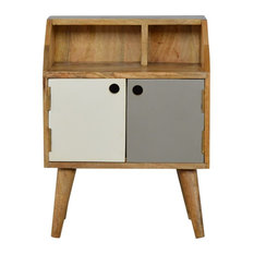 Hand Painted Bedside with Two Open Slots and Two Doors, Oak Finish