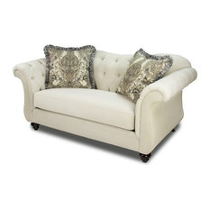 Furniture Of America Andes Transitional Chenille Loveseat In Ivory