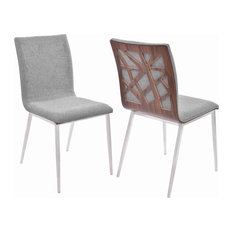 Fabric Dining Chair With Wood Back And Metal Legs Set Of 2 Brown And Gray