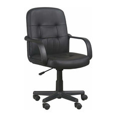 Modern Swivel Chair Upholstered, Black Faux Leather, Adjustable Height Design