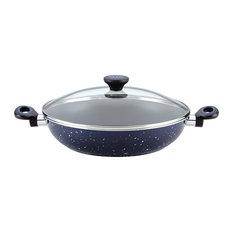 """Paula Deen Riverbend Aluminum Nonstick Chicken Fryer, 12.5"""", Deep Blue Speckle"""
