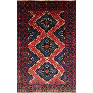 Traditional Persian Balouch Wool On Wool Area Rug 4'x6', W2402