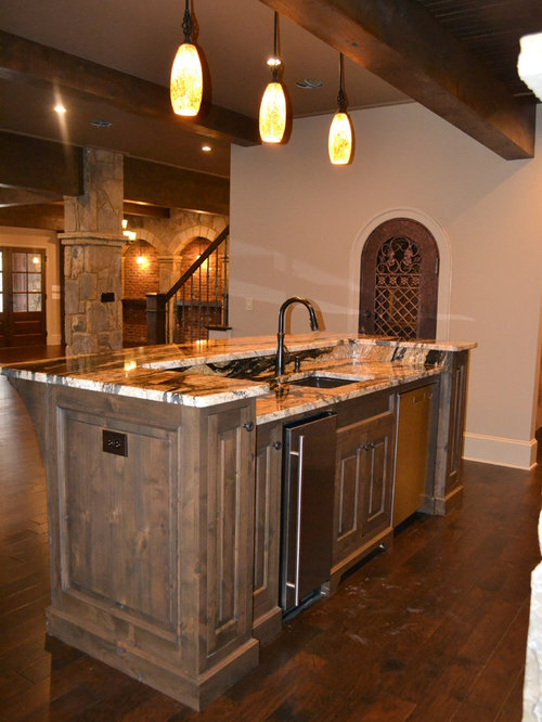 31 Home Bar with Mosaic Tile Backsplash and Beaded Inset Cabinets ...