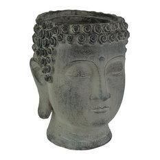 Antique Grey Ceramic Buddha Head Planter