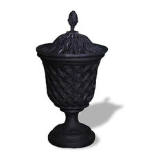 Lattice Urn With Top, Black, With Drainage Holes