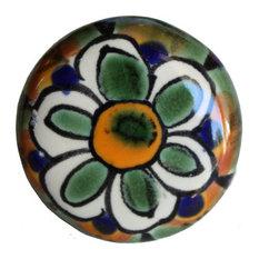 Round Peacock Talavera Ceramic Drawer Knob