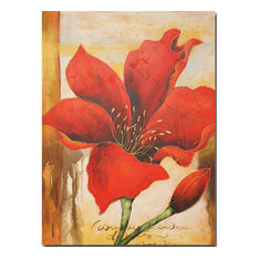 Canvas Oil Painting, Hand Painted Red Flower