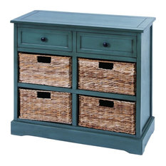 Country Rectangular Turquoise Wood and Leaf 4-Basket Cabinet